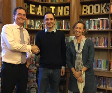 Jonathan with Edward Balfour, Headmaster of Beechwood Park School, and Liz Green, the school's Librarian.